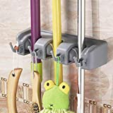 RIXOW Broom Hanger, Hanger and Wall Organizer 3 Seats and 4 Hooks Mops Brushes ...